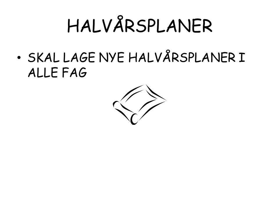 HALVÅRSPLANER SKAL LAGE NYE HALVÅRSPLANER I ALLE FAG