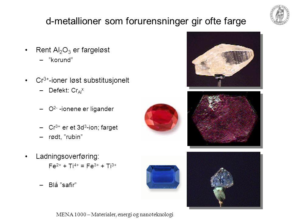 d-metallioner som forurensninger gir ofte farge