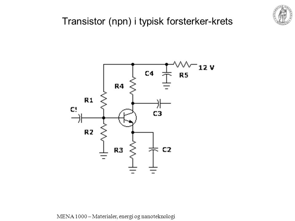 Transistor (npn) i typisk forsterker-krets