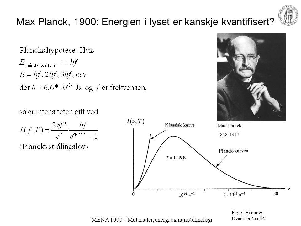 Max Planck, 1900: Energien i lyset er kanskje kvantifisert