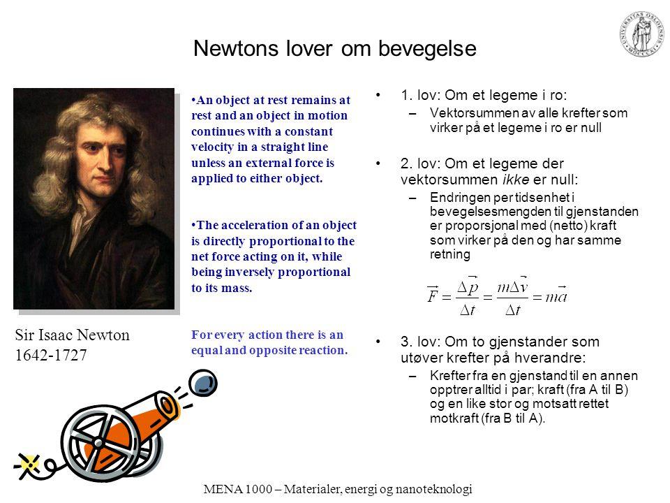 Newtons lover om bevegelse