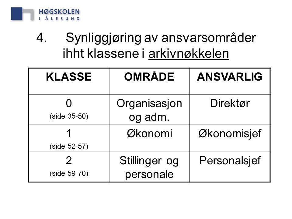 4. Synliggjøring av ansvarsområder ihht klassene i arkivnøkkelen