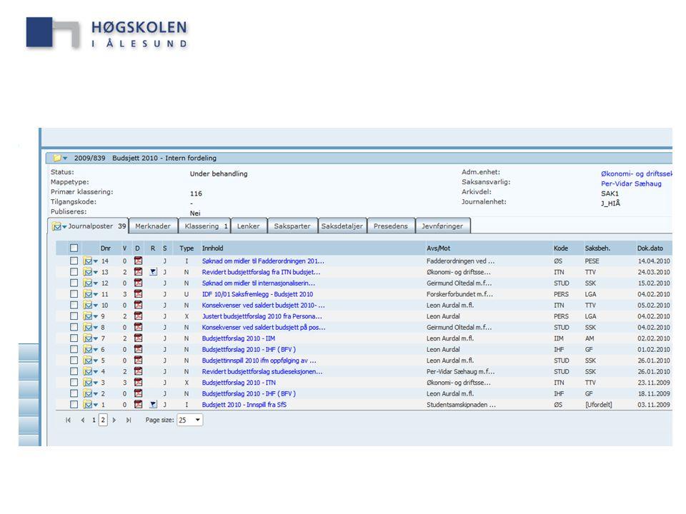 Her er det opprettet en sak: Budsjett 2010 – Intern fordeling – arkivkode 116.