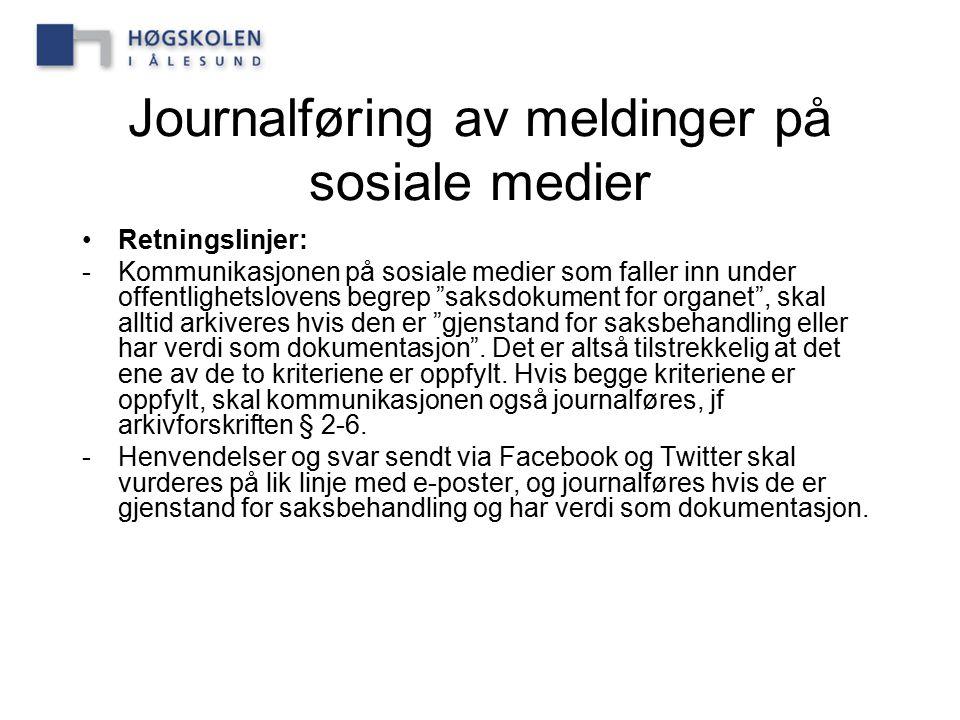 Journalføring av meldinger på sosiale medier