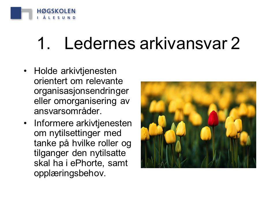1. Ledernes arkivansvar 2 Holde arkivtjenesten orientert om relevante organisasjonsendringer eller omorganisering av ansvarsområder.