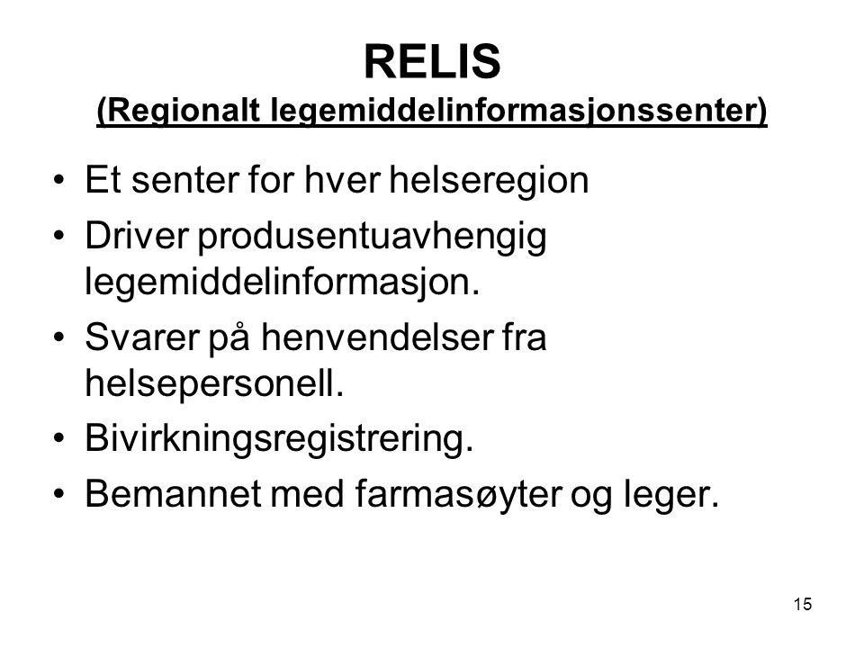 RELIS (Regionalt legemiddelinformasjonssenter)