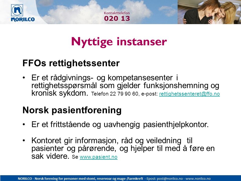 Nyttige instanser FFOs rettighetssenter Norsk pasientforening