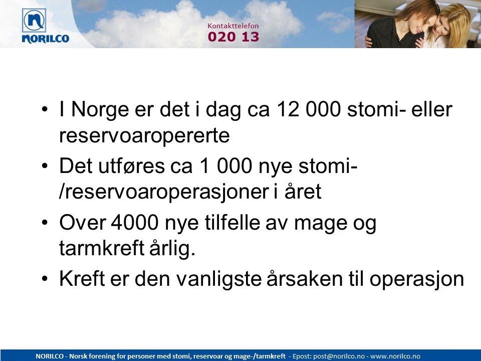 I Norge er det i dag ca 12 000 stomi- eller reservoaropererte