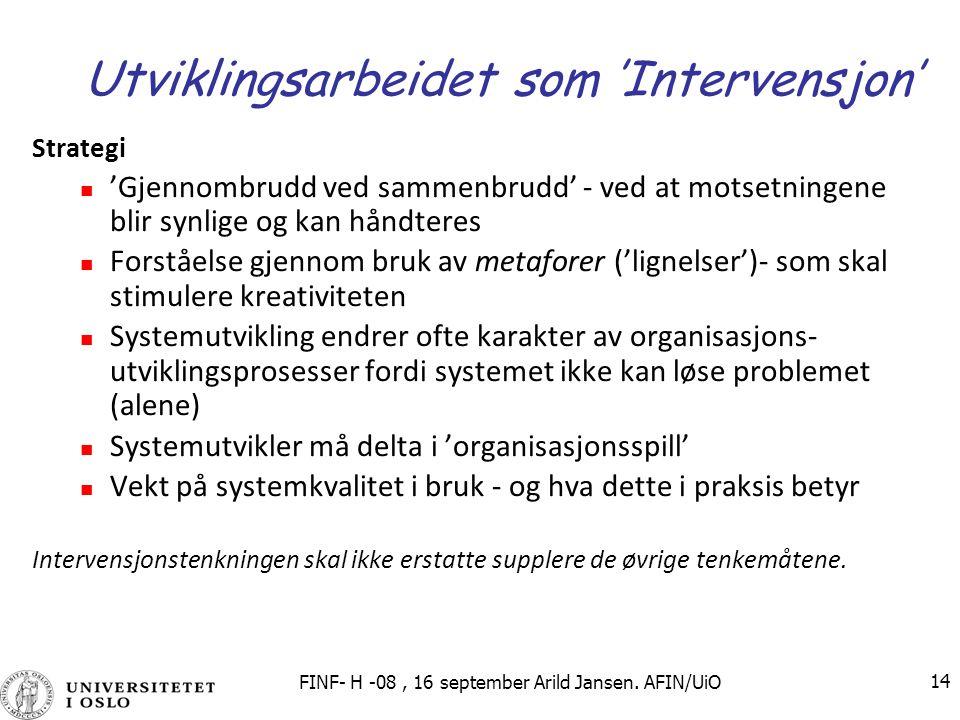 Utviklingsarbeidet som 'Intervensjon'
