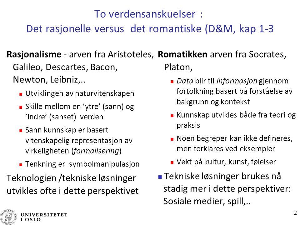 08.04.2017 To verdensanskuelser : Det rasjonelle versus det romantiske (D&M, kap 1-3.