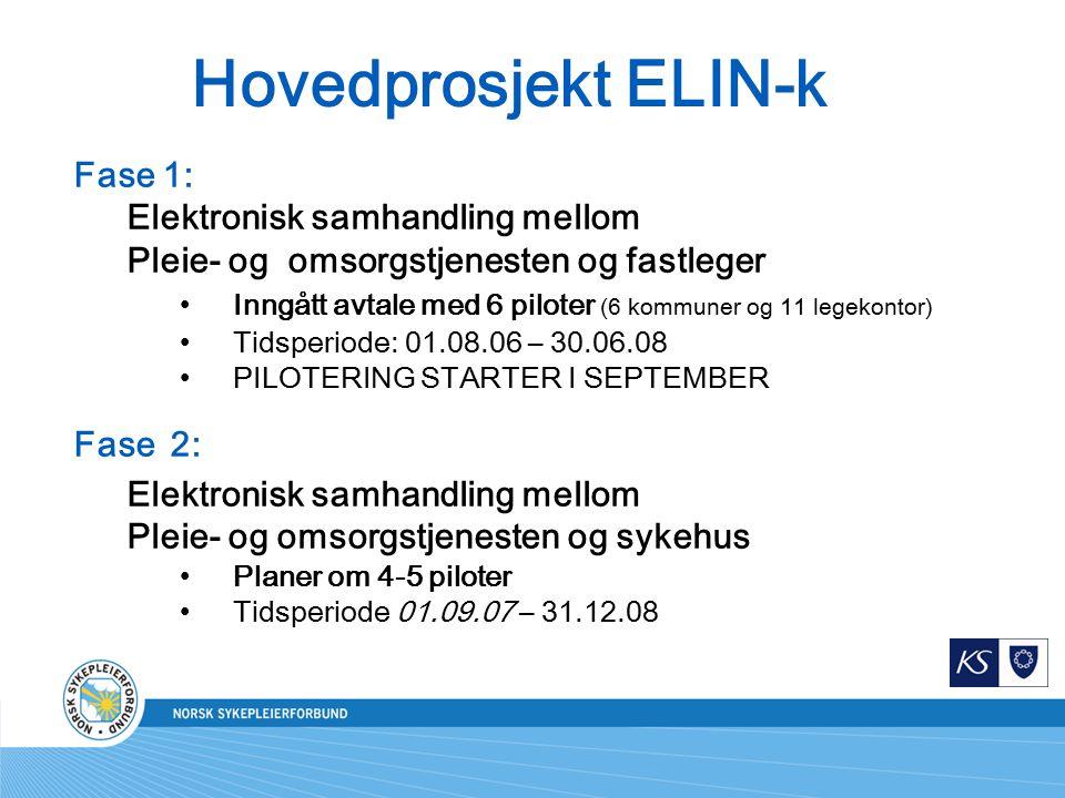 Hovedprosjekt ELIN-k Fase 1: Elektronisk samhandling mellom
