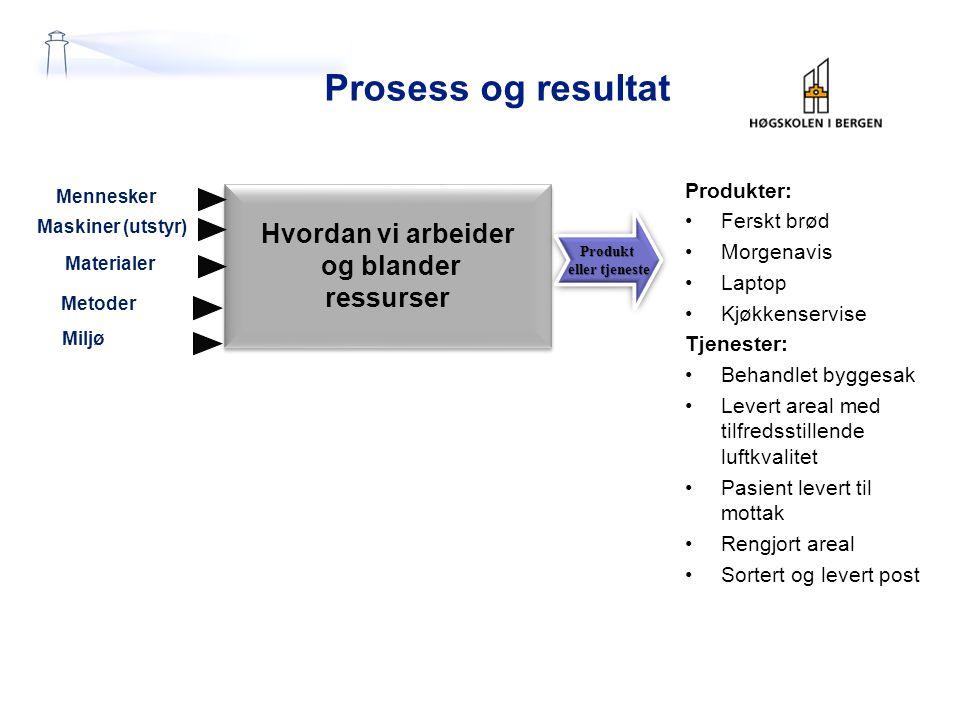 Prosess og resultat Hvordan vi arbeider og blander ressurser