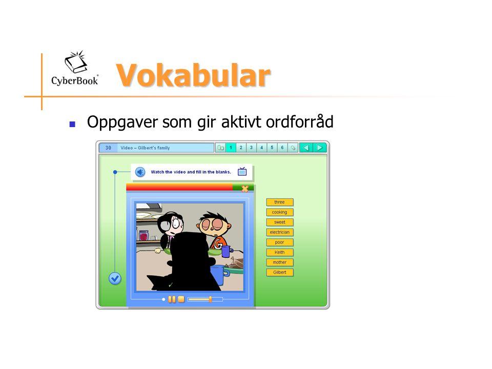 Vokabular Oppgaver som gir aktivt ordforråd