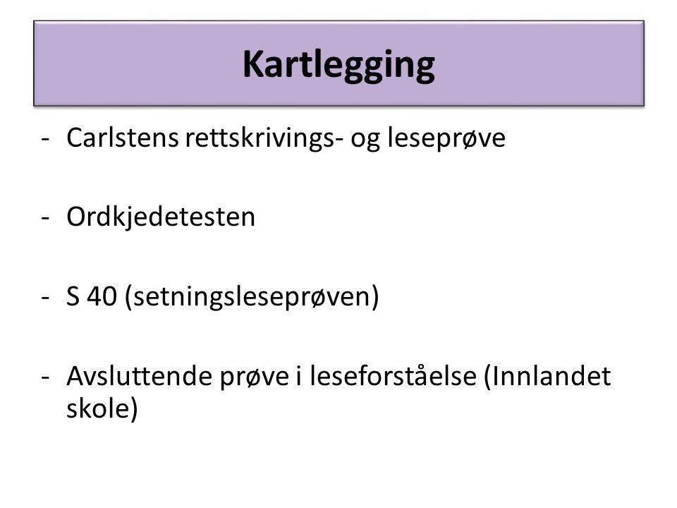 Kartlegging Carlstens rettskrivings- og leseprøve Ordkjedetesten