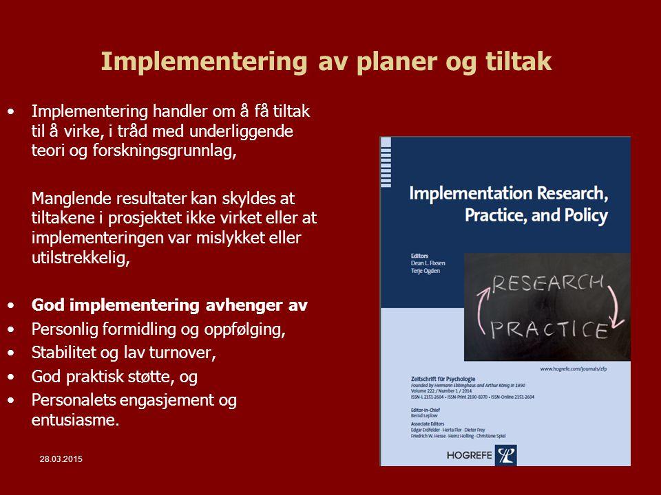 Implementering av planer og tiltak
