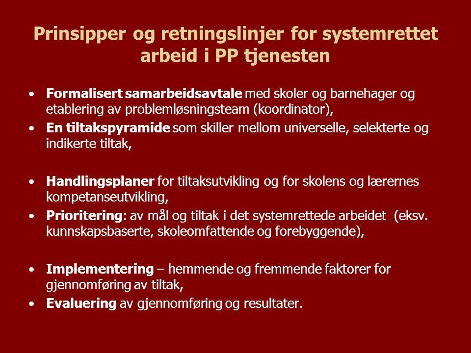 Prinsipper og retningslinjer for systemrettet arbeid i PP tjenesten
