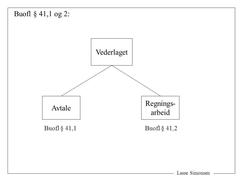 Buofl § 41,1 og 2: Vederlaget Regnings- Avtale arbeid Buofl § 41,1