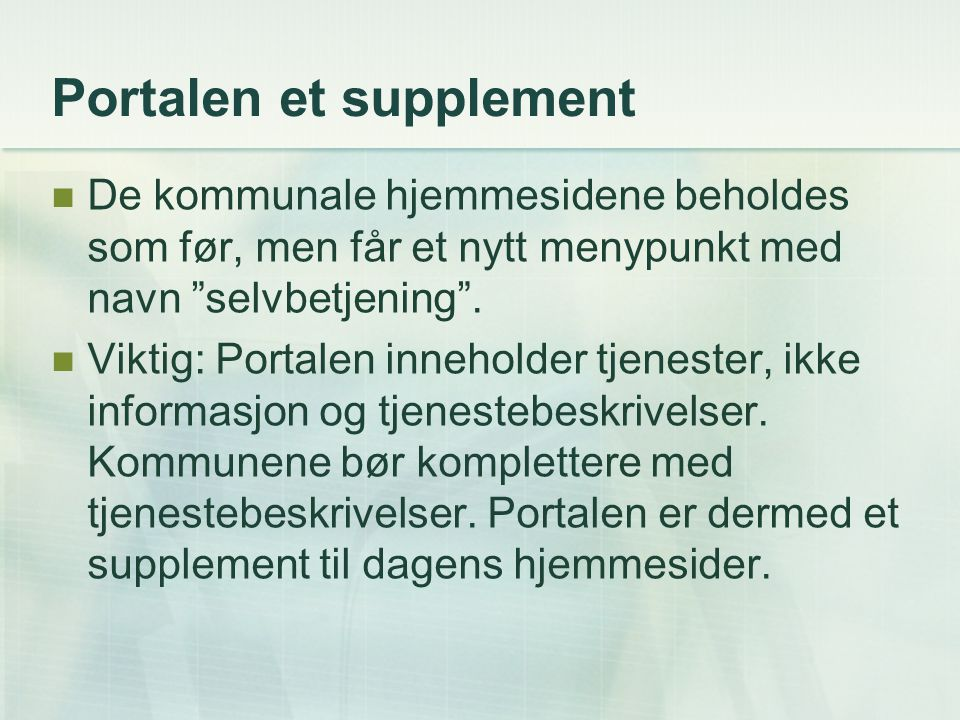 Portalen et supplement