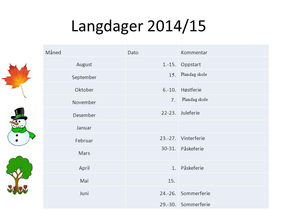 Langdager 2014/15 Måned Dato Kommentar August 1.-15. Oppstart