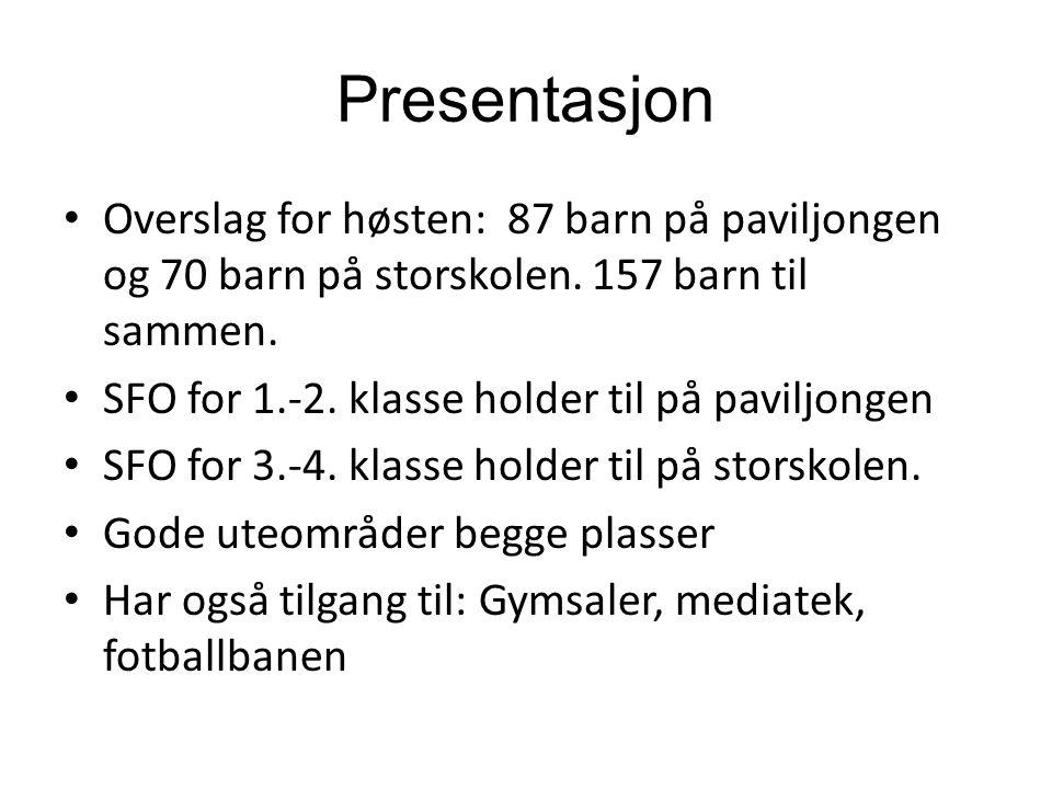 Presentasjon Overslag for høsten: 87 barn på paviljongen og 70 barn på storskolen. 157 barn til sammen.