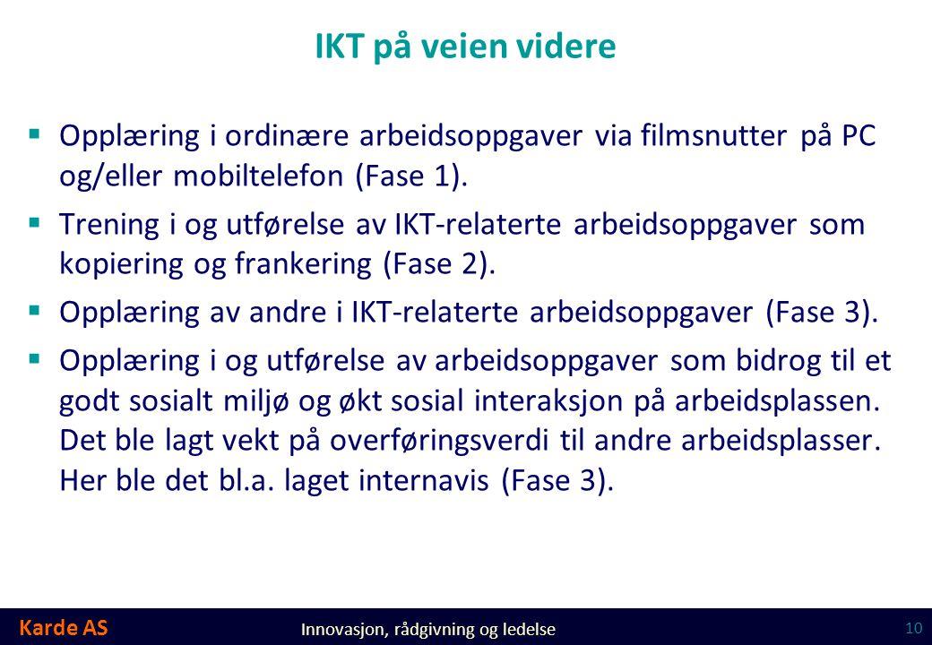 IKT på veien videre Opplæring i ordinære arbeidsoppgaver via filmsnutter på PC og/eller mobiltelefon (Fase 1).