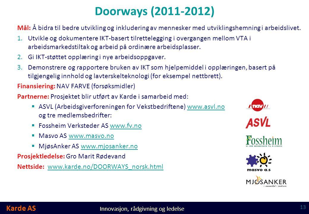 Doorways (2011-2012) Mål: Å bidra til bedre utvikling og inkludering av mennesker med utviklingshemning i arbeidslivet.