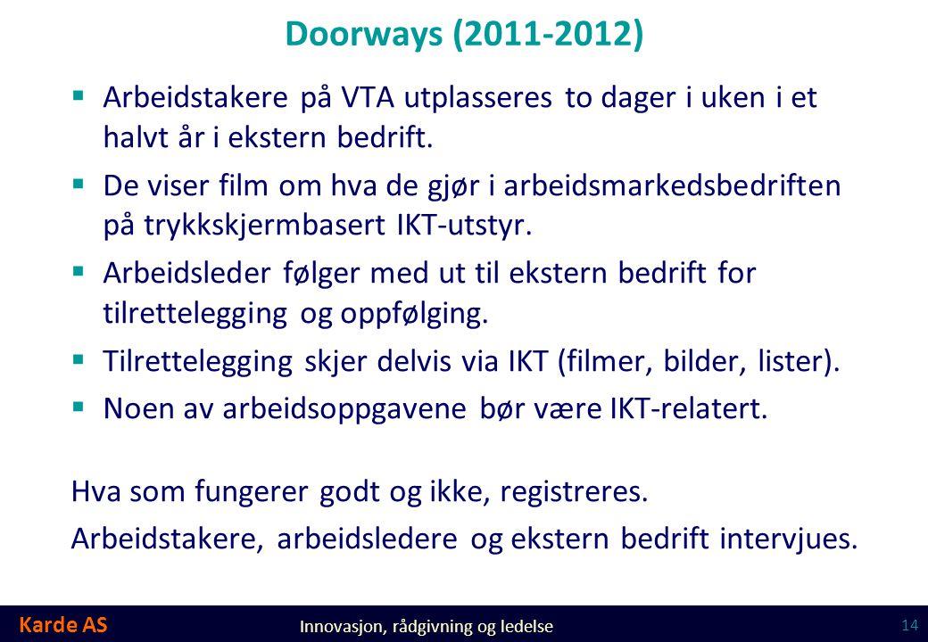 Doorways (2011-2012) Arbeidstakere på VTA utplasseres to dager i uken i et halvt år i ekstern bedrift.