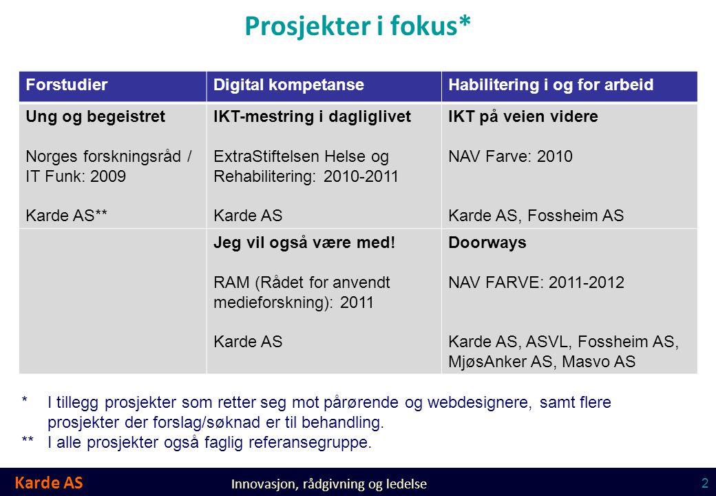 Prosjekter i fokus* Forstudier Digital kompetanse
