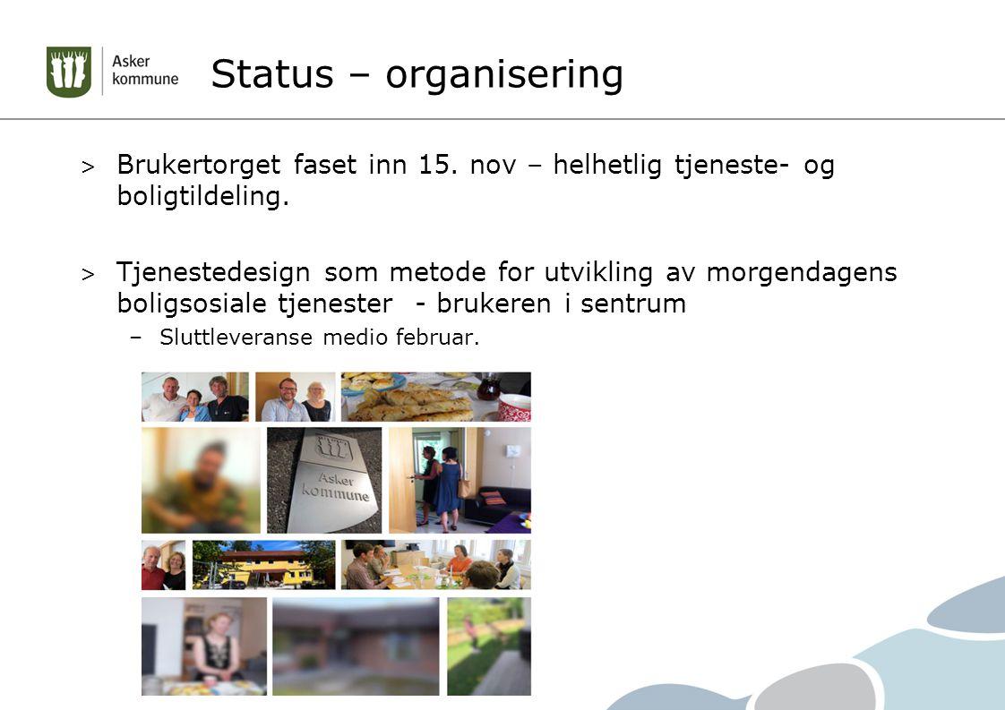 Status – organisering Brukertorget faset inn 15. nov – helhetlig tjeneste- og boligtildeling.