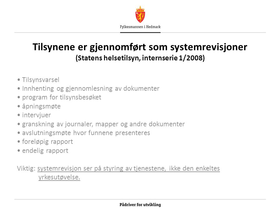 Tilsynene er gjennomført som systemrevisjoner (Statens helsetilsyn, internserie 1/2008)