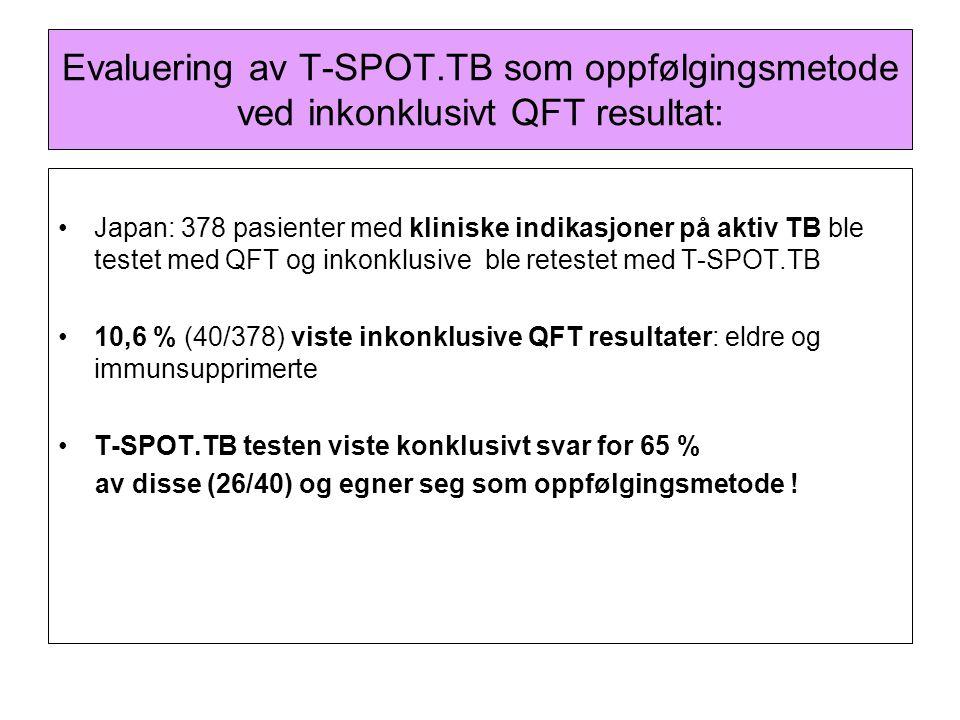 Evaluering av T-SPOT.TB som oppfølgingsmetode ved inkonklusivt QFT resultat: