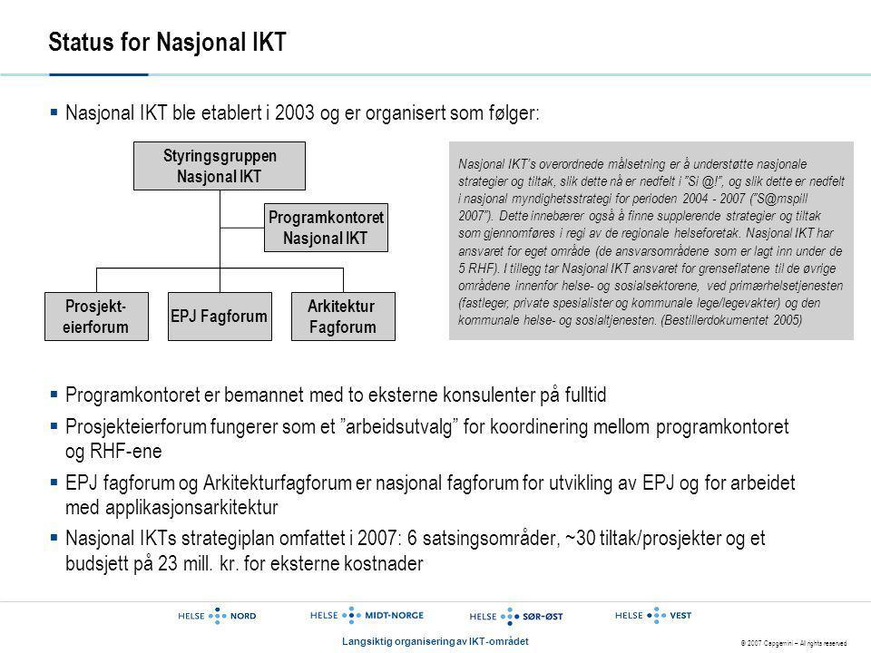 Status for Nasjonal IKT