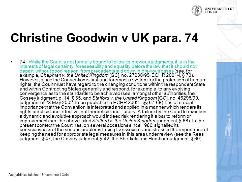 Christine Goodwin v UK para. 74