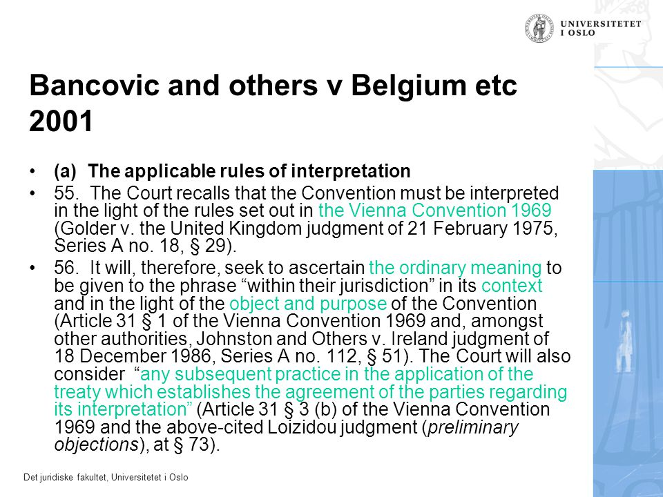 Bancovic and others v Belgium etc 2001