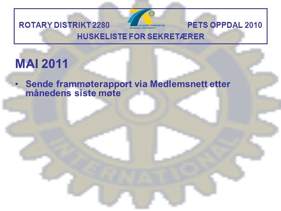 ROTARY DISTRIKT 2280 PETS OPPDAL 2010 HUSKELISTE FOR SEKRETÆRER