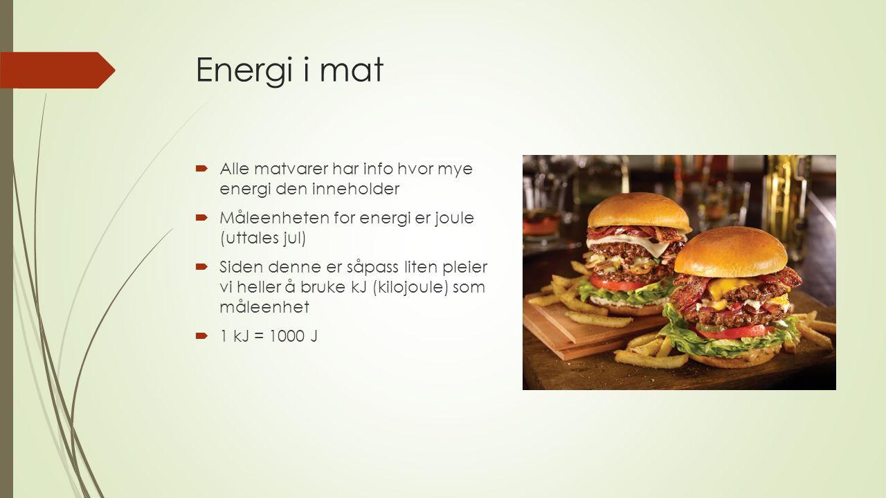 Energi i mat Alle matvarer har info hvor mye energi den inneholder