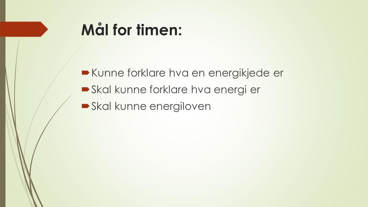 Mål for timen: Kunne forklare hva en energikjede er
