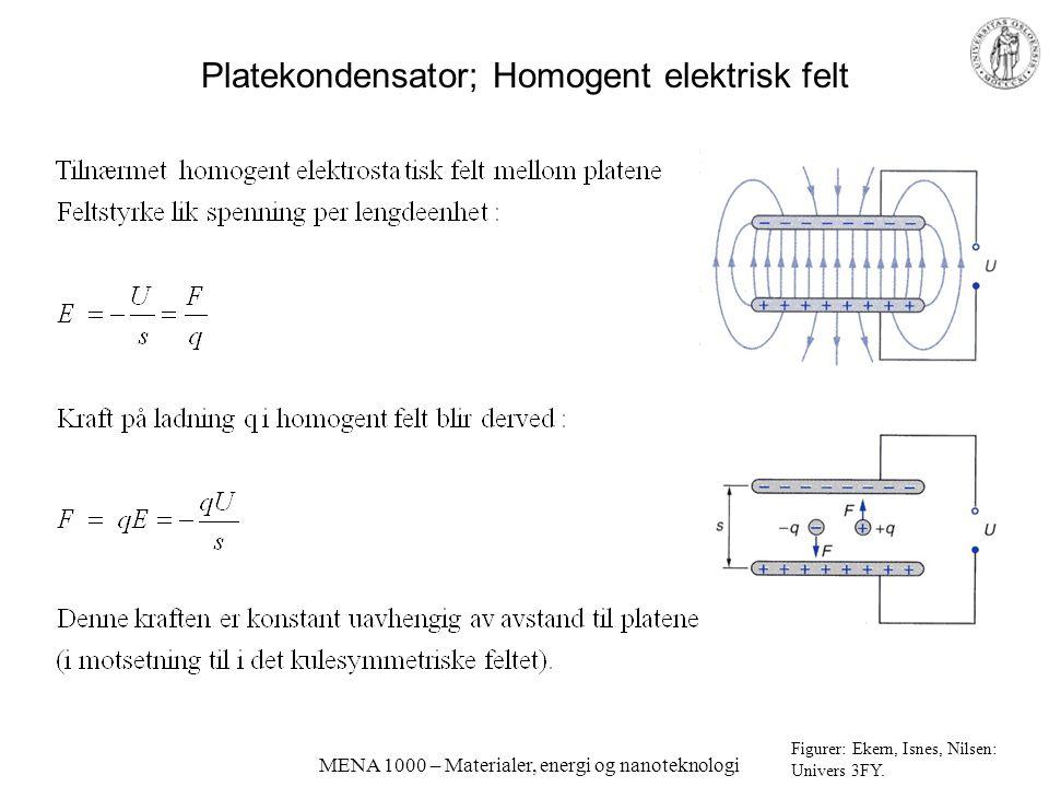 Platekondensator; Homogent elektrisk felt