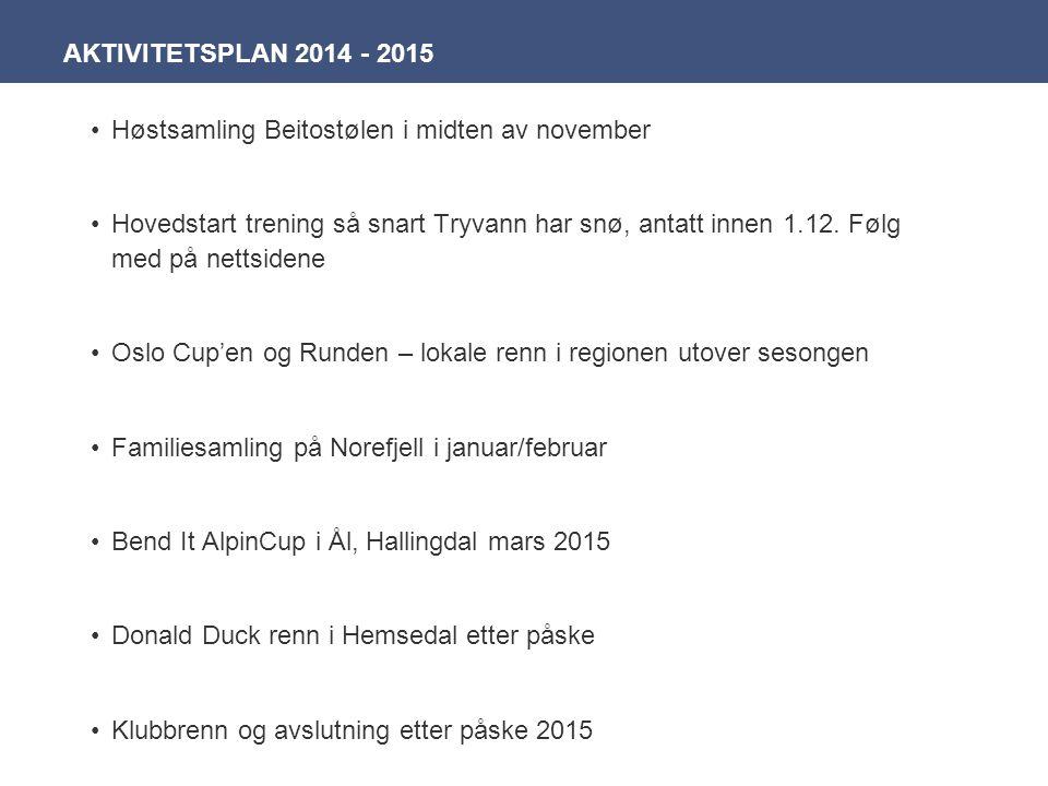 AKTIVITETSPLAN 2014 - 2015 Høstsamling Beitostølen i midten av november.