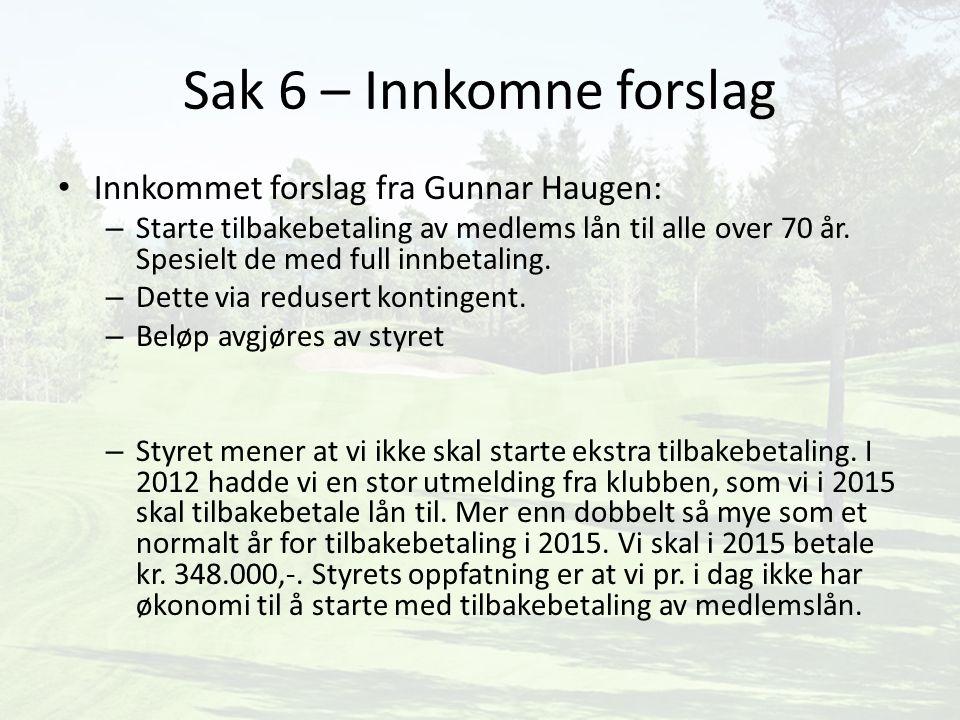 Sak 6 – Innkomne forslag Innkommet forslag fra Gunnar Haugen: