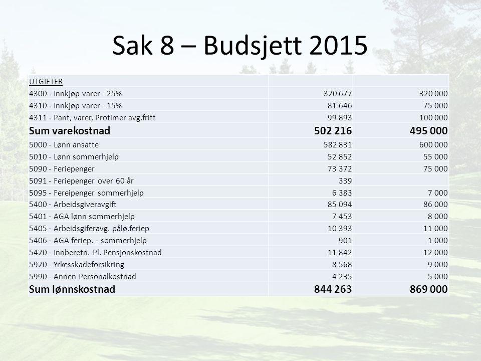 Sak 8 – Budsjett 2015 Sum varekostnad 502 216 495 000 Sum lønnskostnad