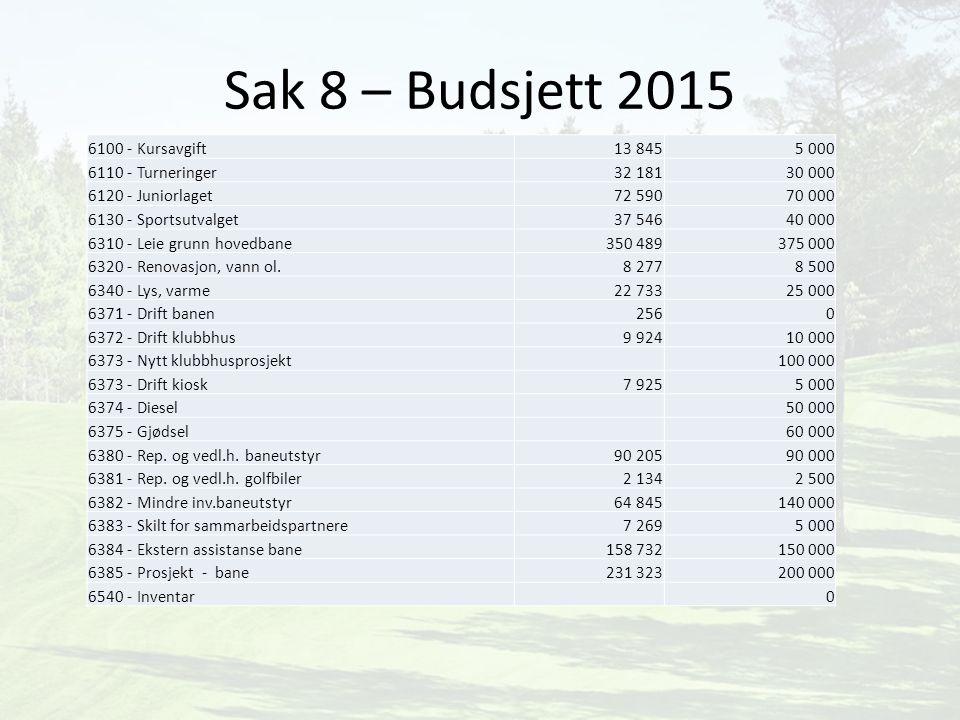 Sak 8 – Budsjett 2015 6100 - Kursavgift 13 845 5 000