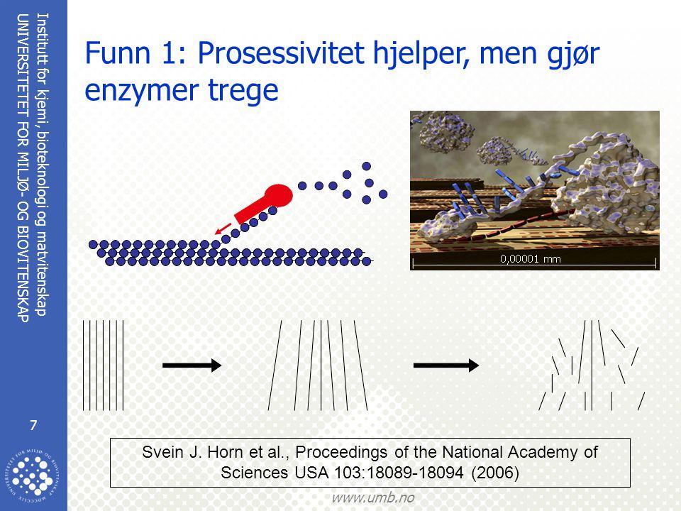 Funn 1: Prosessivitet hjelper, men gjør enzymer trege
