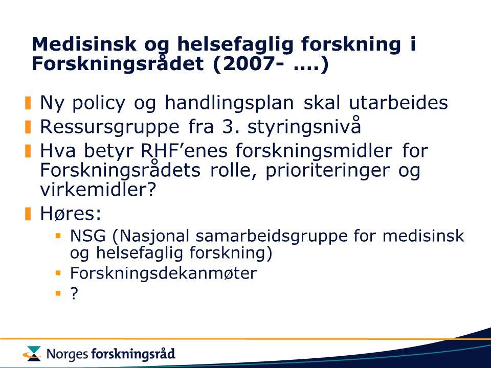 Medisinsk og helsefaglig forskning i Forskningsrådet (2007- ….)