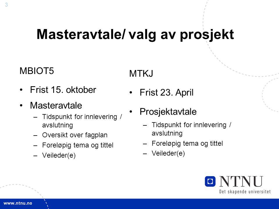 Masteravtale/ valg av prosjekt