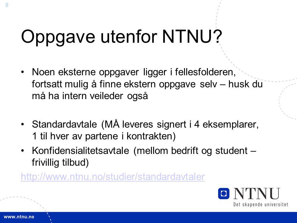 Oppgave utenfor NTNU