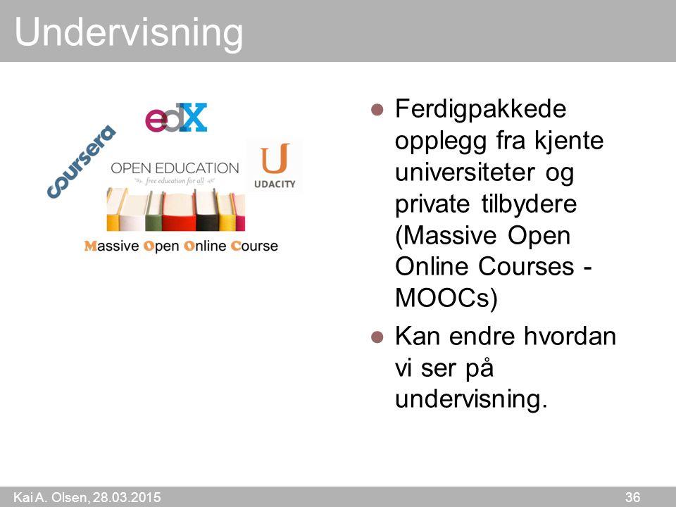 Undervisning Ferdigpakkede opplegg fra kjente universiteter og private tilbydere (Massive Open Online Courses - MOOCs)