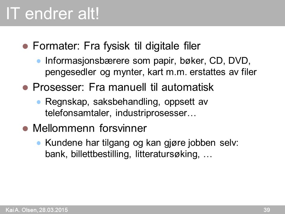 IT endrer alt! Formater: Fra fysisk til digitale filer