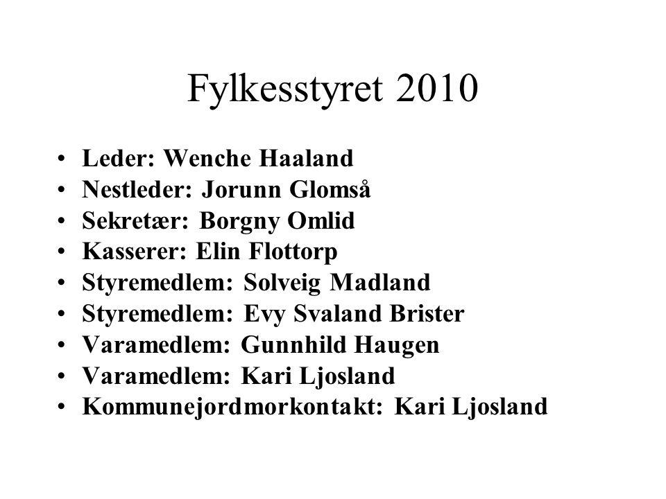 Fylkesstyret 2010 Leder: Wenche Haaland Nestleder: Jorunn Glomså