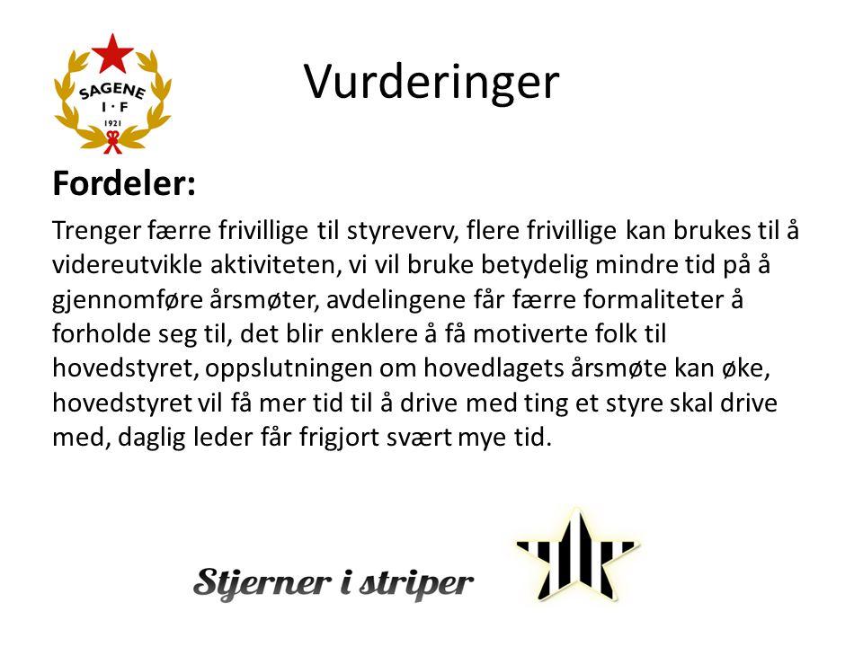 Vurderinger Fordeler: